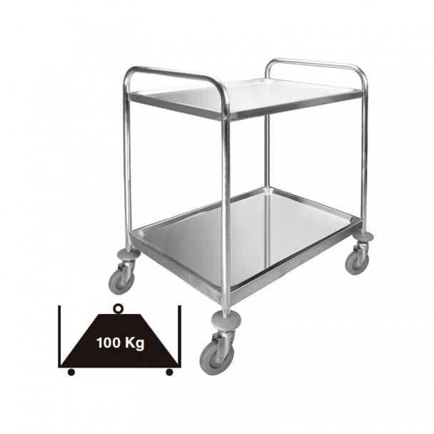 Carro de Serviço, 2 Bandejas Inox Removível 100 kg